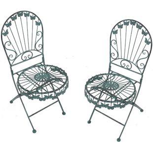 2x Metall Stuhl Schmetterling Balkonset Garten Balkon Set  Möbel Klappstuhl