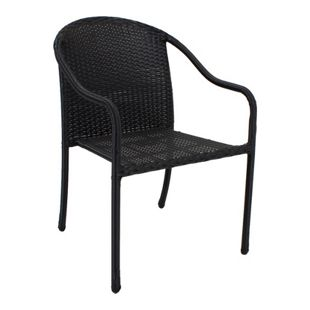 2x Garden Pleasure Stapelstuhl Garten Terrasse Stuhl Sessel Rattan Optik schwarz
