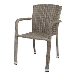 2x Garten Stapelstuhl Armstuhl Balkon Terrasse Stuhl Stühle Sessel Rattan Optik