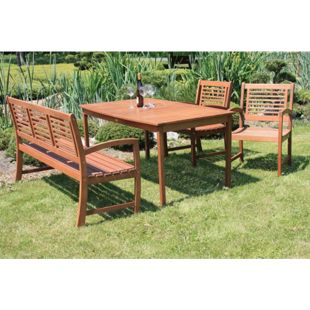 4tlg. Garden Pleasure Tischgruppe Madison Tisch + Bank + Sessel Garten Stuhl