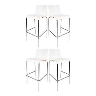 4x Flexfurn Barhocker Scala Hocker Bar Stuhl Set Stühle Gastronomie weiß