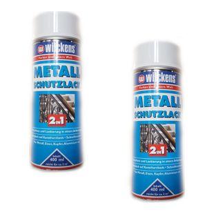 2x Wilckens Metall Schutzlack Spray 2in1 400ml weiss