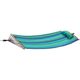 Hängematte HAWAII Hängeliege Schaukelliege Garten Relaxliege blau/grün gestreift