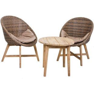 Garten Sitzgruppe RENO 3tlg. +  Auflage Essgruppe Gartenset Tisch Sessel Set