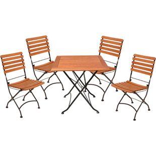 Garden Pleasure Sitzgarnitur WIEN 5.tlg Tisch Klappstuhl Holz Gartenmöbel Set