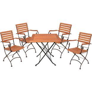 GardenPleasure Sitzgarnitur WIEN 5.tlg Tisch Klappstuhl Holz Gartenmöbel Set