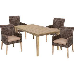 Garten Sitzgruppe Gartenset 5tlg. +  Auflage Essgruppe Terrasse Tisch Armsessel