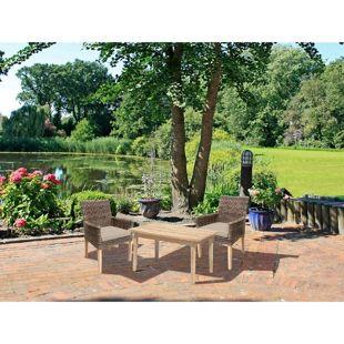 Gartenset Garten Sitzgruppe 3tlg. +  Auflage Essgruppe Terrasse Tisch Armsessel