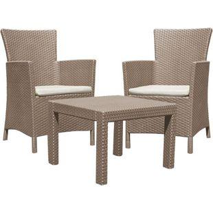 "3tlg. Lounge Sitzgruppe ""Miami"" Garnitur Garten Möbel Set Essgruppe Rattan Optik"