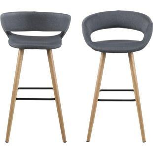2x PKline Barhocker Barstuhl Tresenhocker Hocker Set grau Stühle