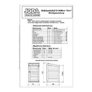 "JODA Holz Anbaumodul ""DINO"" 74x85x115/131cm 240 Liter Mülltonnenbox Müllbox"