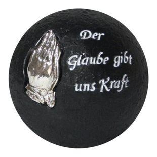 Grabschmuck Ø 10,5cm Dekokugel + Inschrift Grab Dekoration Trauer betende Hände
