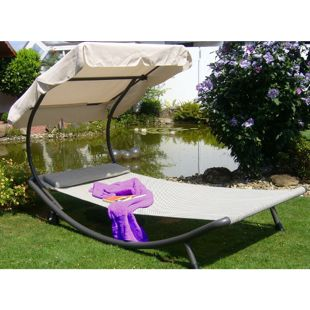 Leco Luxus Single Liege + Dach Liege Sonnenliege Rollliege Gartenliege Lounge
