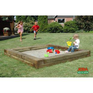 JODA Sandkiste Ben 220x220cm massiv Holz Sandkasten Sandbox Buddelkiste