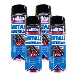4x WILCKENS 400ml Metall Schutzlack Spray 2in1 Rostschutz schwarz 1L/9,68?