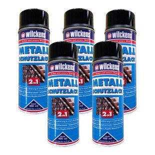 5x WILCKENS 400ml Metall Schutzlack Spray 2in1 Rostschutz Lack schwarz 1L/10,45€