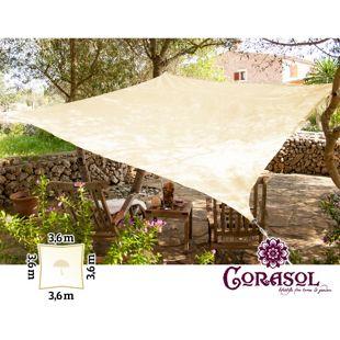 Corasol 160057 Premium Sonnensegel, 3,6 x 3,6 m, Quadrat, wasserabweisend, creme-weiß