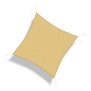 Corasol 160009 Premium Sonnensegel, 5 x 5 m, Quadrat, wind- & wasserdurchlässig, beige
