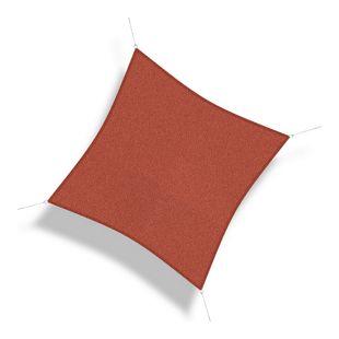 Corasol 160029 Premium Sonnensegel, 5 x 5 m, Quadrat, wind- & wasserdurchlässig, rot