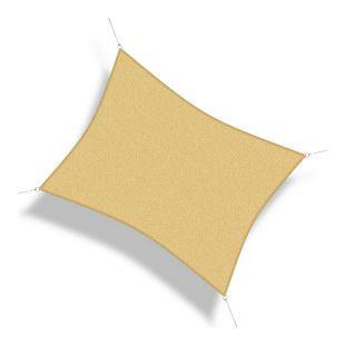 Corasol 160070 Premium Sonnensegel, 6 x 4 m, Rechteck, wind- & wasserdurchlässig, beige