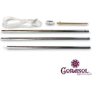Corasol 19POLESET Abspannmast Mast Pfosten für Sonnensegel, silber, 6-teilig (1 Set)