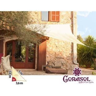 Corasol 160089 Premium Sonnensegel, 3,6 x 3,6 x 5 m, 90° Grad Dreieck, wasserabweisend, creme-weiß