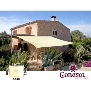 Corasol 160091 Premium Sonnensegel, 3,5 x 4,5 m, Rechteck, wasserabweisend, creme-weiß