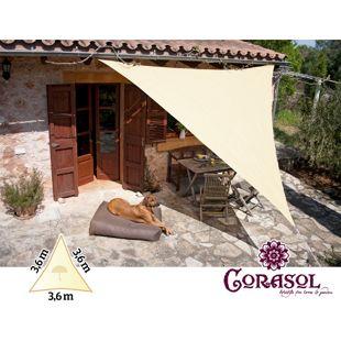 Corasol 160114 Premium Sonnensegel, 3,6 x 3,6 x 3,6 m, Dreieck, wasserabweisend, creme-weiß