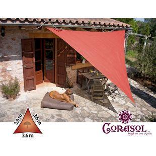 Corasol 160115 Premium Sonnensegel, 3,6 x 3,6 x 3,6 m, Dreieck, wasserabweisend, rot