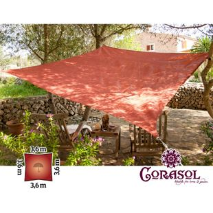 Corasol 160125 Premium Sonnensegel, 3,6 x 3,6 m, Quadrat, wasserabweisend, rot