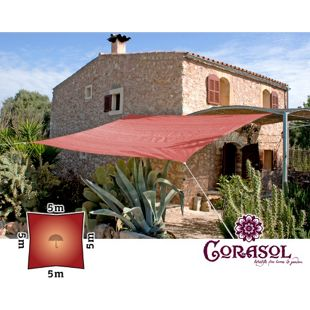 Corasol 160132 Premium Sonnensegel, 5 x 5 m, Quadrat, wasserabweisend, rost-rot