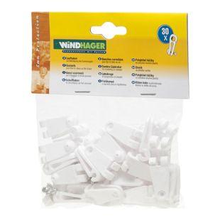 Windhager 10701 Laufhaken, Zubehör für Seilspannmarkise / Sonnensegel, weiß (30er Pack)