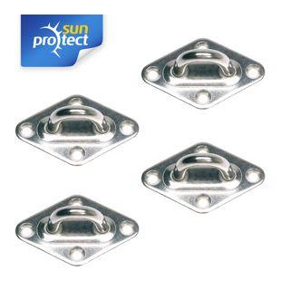 Gartenia Sunprotect 83206 Montage Zubehör für Sonnensegel, Wandöse, edelstahl (4 Stück)