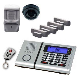 OLYMPIA Protect 6061 Drahtloses Alarmanlagen Set mit 1 Deckenkamera-Attrappe, Bewegungsmelder, Tür/Fensterkontakten und 1 Fernbedienung