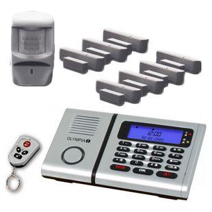 OLYMPIA Protect 6061 Sicherheit Plus Drahtloses Alarmanlagen Set mit 7 Tür/Fensterkontakten, Notruf- und Freisprechfunktion und Integrierter Telefonwähleinheit