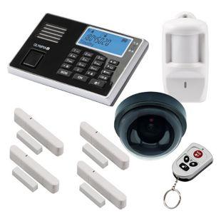 OLYMPIA Protect 9061 GSM Funk Alarmanlagen Set mit Deckenkamera-Attrappe, Bewegungsmelder, Tür Fenster/Kontakten und Fernbedienung