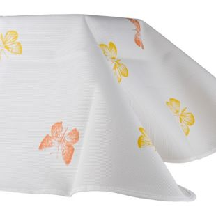 Moderne rechteckige Gartentischdecke mit abgerundeten Ecken, 130 x 160 cm, verschiedene Farben/weiß/weiß/Schmetterling