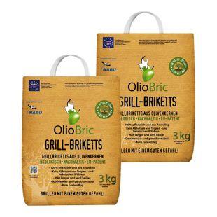 OLIOBRIC Olivenkern Grill-Briketts, 6 kg