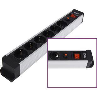 IOIO SL 2620S Aluminium 6-fach Steckdosenleiste mit Überlastschutz und Ein/Aus-Schalter