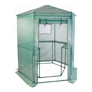 LEX Walk-in Gewächshaus sechseckig, stabile Metallrohre als Rahmen, DIA 100 cm x H. 220 cm