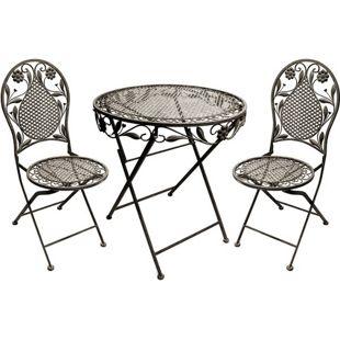 Bistro-Set aus Eisen, 1 Tisch, 2 Stühle, Eisen