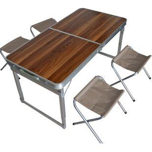 Camping Set klappbar Aluminium Holzdesign Taupe 1 Tisch 4 Stühle