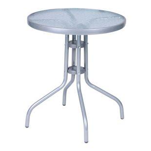 Bistrotisch rund mit Glasplatte 60 cm, aus Metall, Rahmen Silber