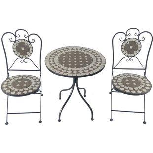 Bistro-Set aus Eisen, 1 Tisch, 2 Stühle, Mosaik