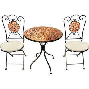 Bistro-Set aus Eisen, 1 Tisch, 2 Stühle mit runden Sitzkissen, Mosaik