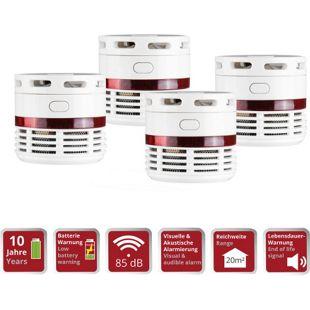 4 Stück OLYMPIA RM 10 Mini Rauchmelder, 10 Jahres Batterie, 85 db