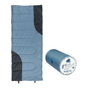 10T Hanya Schlafsack 180x75 cm -6° Deckenschlafsack Blau/Grau warm wasserabweisend waschbar