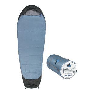 10T Schlafsack Nardu -18° warm weich 1900g leicht XL Mumienschlafsack 230x80 Blau / Grau 350g/m²