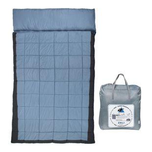 10T Doppel-Schlafsack ZALI DUO -19° 2 Personen XXL Deckenschlafsack 230x150 Blau / Grau