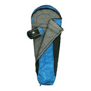 10T Schlafsack Yukon L -5° warm weich 1400g leicht Mumienschlafsack 205x75 Blau / Schwarz 175g/m²